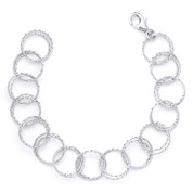 15mm Double-Coil Circle Cable Link Italian Chain Bracelet in .925 Sterling Silver w/ Rhodium Plating - CLB-CHARM4-15MM-SLW