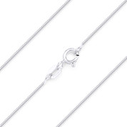 0.7mm (Gauge 010) Classic Snake Link Italian Chain Necklace in Solid .925 Sterling Silver - CLN-SNAKE8-010-SLP