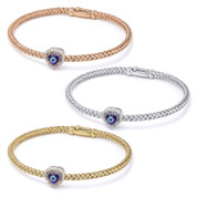 Evil Eye Glass Bead & 0.16ct Round Cut Diamond Heart-Shaped Charm Bangle Bracelet  in .925 Sterling Silver