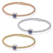 Evil Eye Glass Bead & 0.16ct Round Cut Diamond Heart-Shaped Charm Bangle Bracelet  in .925 Sterling Silver