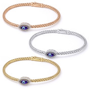 Evil Eye Glass Bead & 0.16ct Round Cut Diamond Marquise-Shaped Charm Bangle Bracelet  in .925 Sterling Silver