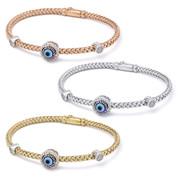 Evil Eye Glass Bead & 0.26ct Round Cut Diamond Circle Halo Charm Bangle Bracelet  in .925 Sterling Silver