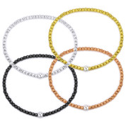 2.9mm Diamond-Cut & 5mm Polished Ball Bead Italian Stretch Bracelet in .925 Sterling Silver - CLB-STBEAD-2.9MM-SL