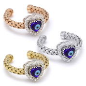 Evil Eye Glass Bead & 0.16ct Round Cut Diamond Heart-Shaped Charm Adjustable Ring in .925 Sterling Silver