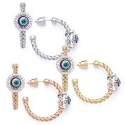 Evil Eye Glass Bead & 0.26ct Round Cut Diamond Circle Halo Charm Hoop Earrings in .925 Sterling Silver