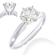 Charles & Colvard® Forever Brilliant® Round Cut Moissanite 6-Prong Solitaire Engagement Ring in 14k White Gold - JC-SR 100-FB-14W