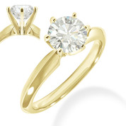 Charles & Colvard® Forever Brilliant® Round Cut Moissanite 6-Prong Solitaire Engagement Ring in 14k Yellow Gold - JC-SR 100-FB-14Y