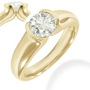 Charles & Colvard® Forever ONE® Round Brilliant Cut Moissanite Half-Bezel Solitaire Engagement Ring in 14k Yellow Gold - JC-SR 401-FO-14Y