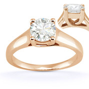 Charles & Colvard® Forever Brilliant® Round Cut Moissanite 4-Prong Trellis Solitaire Engagement Ring in 14k Rose Gold - US-SR430-FB-14R