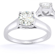 Charles & Colvard® Forever Brilliant® Round Cut Moissanite 4-Prong Trellis Solitaire Engagement Ring in 14k White Gold - US-SR430-FB-14W