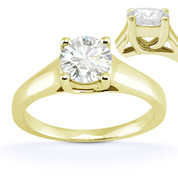 Charles & Colvard® Forever Brilliant® Round Cut Moissanite 4-Prong Trellis Solitaire Engagement Ring in 14k Yellow Gold - US-SR430-FB-14Y
