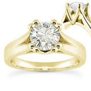 Charles & Colvard® Forever Classic® Round Brilliant Cut Moissanite 4-Prong Cathedral Solitaire Engagement Ring in 14k Yellow Gold - US-SR433-MS-14Y