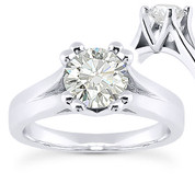 Charles & Colvard® Forever Brilliant® Round Cut Moissanite 4-Prong Cathedral Solitaire Engagement Ring in 14k White Gold - US-SR433-FB-14W