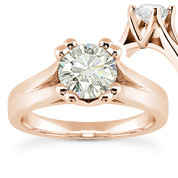 Charles & Colvard® Forever ONE® Round Brilliant Cut Moissanite 4-Prong Cathedral Solitaire Engagement Ring in 14k Rose Gold - US-SR433-FO-14R