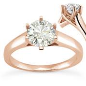 Charles & Colvard® Forever Brilliant® Round Cut Moissanite 6-Prong Trellis Solitaire Engagement Ring in 14k Rose Gold - US-SR6069-FB-14R