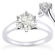 Charles & Colvard® Forever Brilliant® Round Cut Moissanite 6-Prong Trellis Solitaire Engagement Ring in 14k White Gold - US-SR6069-FB-14W