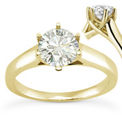 Charles & Colvard® Forever Brilliant® Round Cut Moissanite 6-Prong Trellis Solitaire Engagement Ring in 14k Yellow Gold - US-SR6069-FB-14Y