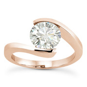 Charles & Colvard® Forever Brilliant® Round Cut Moissanite Bypass Tension-Setting Solitaire Engagement Ring in 14k Rose Gold - US-SR8947-FB-14R
