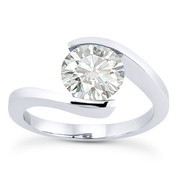 Charles & Colvard® Forever Brilliant® Round Cut Moissanite Bypass Tension-Setting Solitaire Engagement Ring in 14k White Gold - US-SR8947-FB-14W