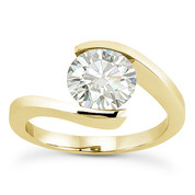 Charles & Colvard® Forever Brilliant® Round Cut Moissanite Bypass Tension-Setting Solitaire Engagement Ring in 14k Yellow Gold - US-SR8947-FB-14Y