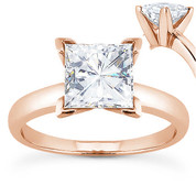 Charles & Colvard® Forever ONE® Square Brilliant Cut Moissanite 4-Prong Solitaire Engagement Ring in 14k Rose Gold - US-SR7287-FO-14R