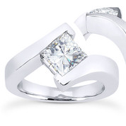 Charles & Colvard® Forever Brilliant® Square Cut Moissanite Bypass Solitaire Engagement Ring in 14k White Gold - US-SR8168-FB-14W