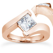 Charles & Colvard® Forever ONE® Square Brilliant Cut Moissanite Bypass Solitaire Engagement Ring in 14k Rose Gold - US-SR8168-FO-14R