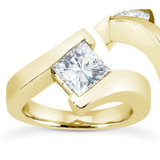 Charles & Colvard® Forever ONE® Square Brilliant Cut Moissanite Bypass Solitaire Engagement Ring in 14k Yellow Gold - US-SR8168-FO-14Y