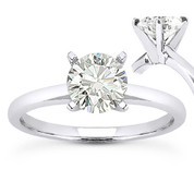 Charles & Colvard® Forever Brilliant® Round Cut Moissanite 4-Prong Solitaire Engagement Ring in 14k White Gold - US-SR8099-FB-14W
