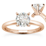 Charles & Colvard® Forever ONE® Round Brilliant Cut Moissanite 4-Prong Solitaire Engagement Ring in 14k Rose Gold - US-SR8099-FO-14R