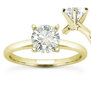 Charles & Colvard® Forever ONE® Round Brilliant Cut Moissanite 4-Prong Solitaire Engagement Ring in 14k Yellow Gold - US-SR8099-FO-14Y