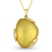 14.55ct Fancy Checkerboard Citrine & Round Diamond Pave Pendant & Chain Necklace in 14k Yellow Gold