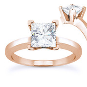 Charles & Colvard® Forever Brilliant® Square Cut Moissanite 4-Prong Solitaire Engagement Ring in 14k Rose Gold - US-SR8188-FB-14R