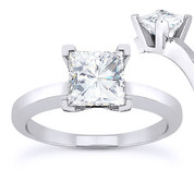 Charles & Colvard® Forever ONE® Square Brilliant Cut Moissanite 4-Prong Solitaire Engagement Ring in 14k White Gold - US-SR8188-FO-14W