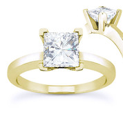 Charles & Colvard® Forever ONE® Square Brilliant Cut Moissanite 4-Prong Solitaire Engagement Ring in 14k Yellow Gold - US-SR8188-FO-14Y