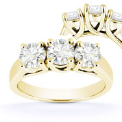 Charles & Colvard® Forever Brilliant® Round Cut Moissanite 4-Prong Trellis 3-Stone Engagement Ring in 14k Yellow Gold - US-TSR226-FB-14Y
