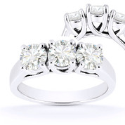 Charles & Colvard® Forever ONE® Round Brilliant Cut Moissanite 4-Prong Trellis 3-Stone Engagement Ring in 14k White Gold - US-TSR226-FO-14W