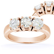 Charles & Colvard® Forever Classic® Round Brilliant Cut Moissanite 4-Prong Basket 3-Stone Engagement Ring in 14k Rose Gold - US-TSR2091-MS-14R