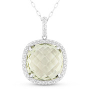 5.04ct Cushion Checkerboard Green Amethyst & Round Cut Diamond Halo Pendant & Chain Necklace in 14k White Gold