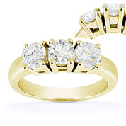Charles & Colvard® Forever Brilliant® Round Cut Moissanite 4-Prong Basket 3-Stone Engagement Ring in 14k Yellow Gold - US-TSR2091-FB-14Y