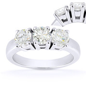 Charles & Colvard® Forever ONE® Round Brilliant Cut Moissanite 4-Prong Basket 3-Stone Engagement Ring in 14k White Gold - US-TSR2091-FO-14W
