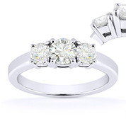 Charles & Colvard® Forever Brilliant® Round Cut Moissanite 4-Prong Basket 3-Stone Engagement Ring in 14k White Gold - US-TSR2419-FB-14W