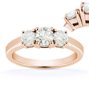 Charles & Colvard® Forever ONE® Round Brilliant Cut Moissanite 4-Prong Basket 3-Stone Engagement Ring in 14k Rose Gold - US-TSR2419-FO-14R