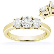 Charles & Colvard® Forever ONE® Round Brilliant Cut Moissanite 4-Prong Basket 3-Stone Engagement Ring in 14k Yellow Gold - US-TSR2419-FO-14Y