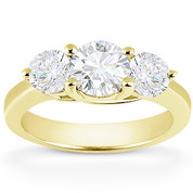 Charles & Colvard® Forever Classic® Round Brilliant Cut Moissanite 4-Prong Trellis 3-Stone Engagement Ring in 14k Yellow Gold - US-TSR2282-MS-14Y