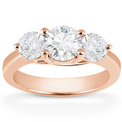 Charles & Colvard® Forever Brilliant® Round Cut Moissanite 4-Prong Trellis 3-Stone Engagement Ring in 14k Rose Gold - US-TSR2282-FB-14R