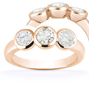 Charles & Colvard® Forever Brilliant® Round Cut Moissanite Bezel-Set 3-Stone Engagement Ring in 14k Rose Gold - US-TSR7661-FB-14R