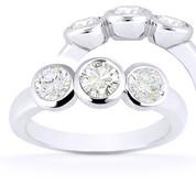 Charles & Colvard® Forever ONE® Round Brilliant Cut Moissanite Bezel-Set 3-Stone Engagement Ring in 14k White Gold - US-TSR7661-FO-14W
