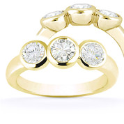 Charles & Colvard® Forever ONE® Round Brilliant Cut Moissanite Bezel-Set 3-Stone Engagement Ring in 14k Yellow Gold - US-TSR7661-FO-14Y