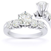 Charles & Colvard® Forever Classic® Round Brilliant Cut Moissanite 5-Stone Engagement Ring in 14k White Gold - US-SSR2139-MS-14W